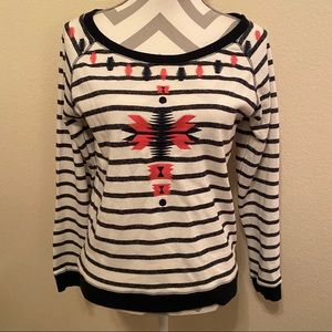 Black & White Aztec Striped Crew Neck Sweatshirt